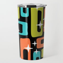 Retro Mid Century Modern Abstract Pattern 222 Orange Chartreuse Turquoise Travel Mug