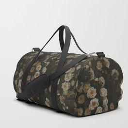 Midnight Dark Floral Grunge Duffle Bag