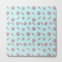 Cute funny teal blush pink food sweet donuts polka dots Metal Print