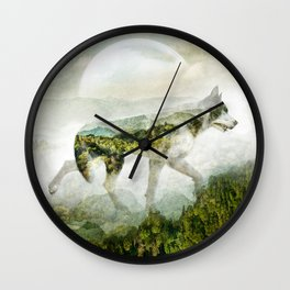Wolf Mountain Looking Right Wall Clock