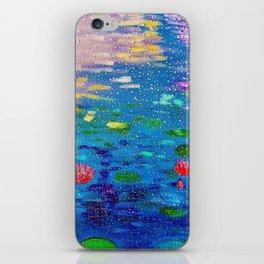 Lotus Pond Through Raindrops On A Window iPhone Skin