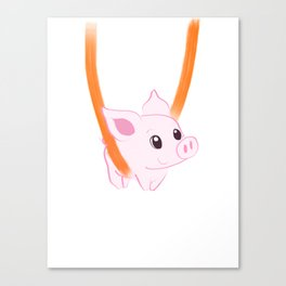Happy piggy in a sling Canvas Print