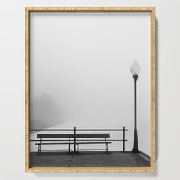Pier In Fog, Early Spring Serving Tray