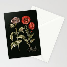 Carnation & Poppy on Charcoal Stationery Cards