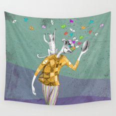the imaginative robot clown and his cat friend Wall Tapestry