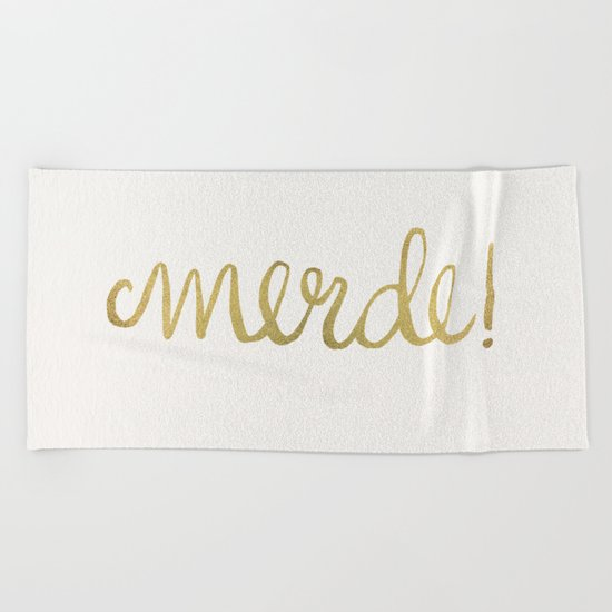Pardon My French – Gold Ink Beach Towel