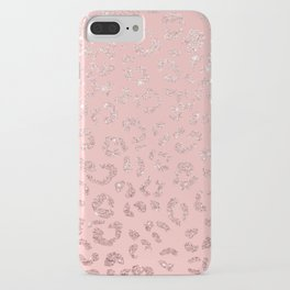 Modern faux rose gold glitter leopard ombre pink pattern iPhone Case