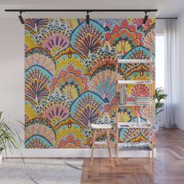 Vintage Japanese Colorful Peacock Pattern Wall Mural