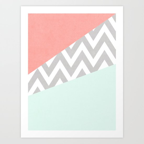 mint & coral chevron block TEXTURIZED Art Print