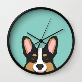 Tricolored Corgi cute corgi dog portrait custom dog art pet friendly dog head cell case Wall Clock