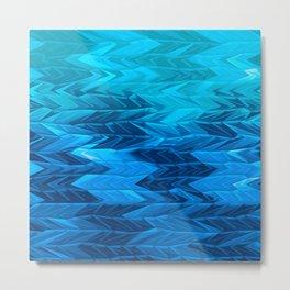 Blue Faded Chevron Metal Print