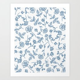 Roses are Bleue Art Print