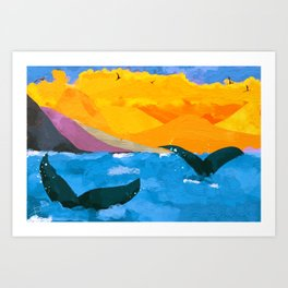 Two whales Art Print