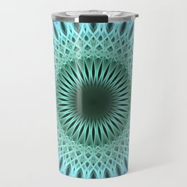 Light blue mandala with a bit of green Travel Mug
