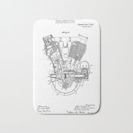 Internal Combustion Engine Vintage Patent Hand Drawing Bath Mat