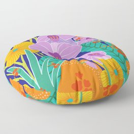 Orchid Fantasy Illustration, Tropical Colourful Orchids Floor Pillow
