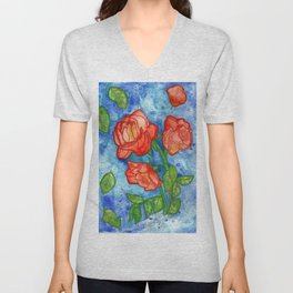 Peachy Colored Roses Unisex V-Neck