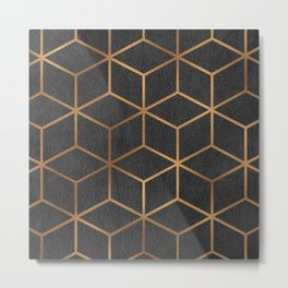 Charcoal and Gold - Geometric Textured Cube Design I Metal Print