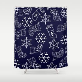 Navy blue and white Christmas snowflakes stockings  Shower Curtain