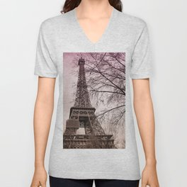 Eiffel Tower Paris in pink Unisex V-Neck