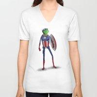 kermit V-neck T-shirts featuring Captain Kermit by Matthew Bartlett