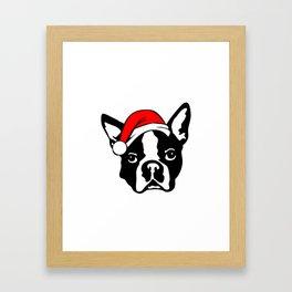 Boston Terrier Dog with Christmas Santa Hat Framed Art Print
