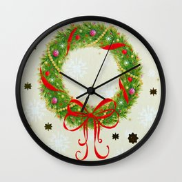Christmas Wreath Wall Clock