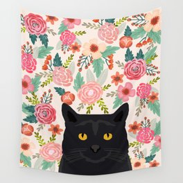Black Cat florals spring summer animal portrait pet friendly cat lady gifts for her or him cute cats Wall Tapestry