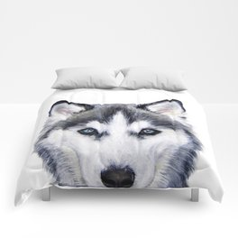 Siberian Husky original painting by Miart Comforters