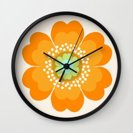 Jivin' - 70's retro throwback art floral flower motif decor hipster Wall Clock