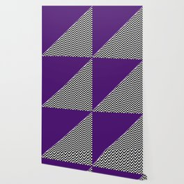 Chevron and Purple Print Wallpaper