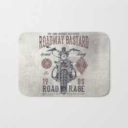 Vintage Motorcycle Poster Style Bath Mat