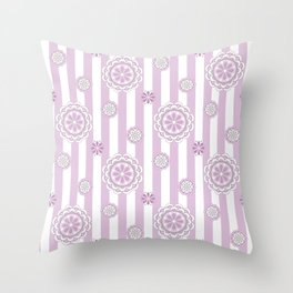 Mod Flowers in Rosy Pink and White Throw Pillow