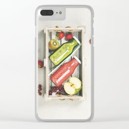 Green and red fresh juices or smoothies Clear iPhone Case