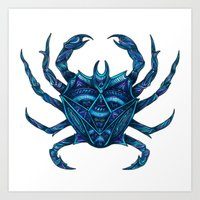 crab Art Prints featuring Crab by Britney Elizabeth