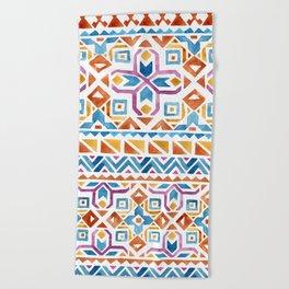 Geometric colorful Watercolor Pattern Beach Towel