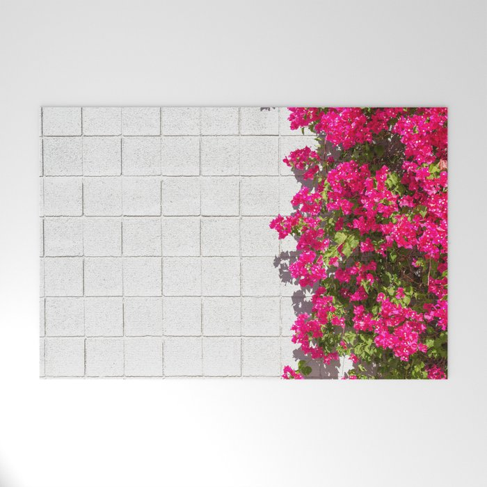 Bougainvilleas and White Brick Wall in Palm Springs, California Welcome Mat