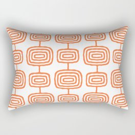 Mid Century Modern Atomic Rings Pattern Orange 3 Rectangular Pillow