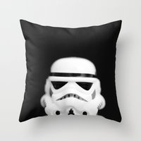 trooper Throw Pillows featuring Trooper by Emma Harckham