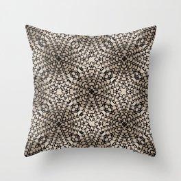 Black and Tan Geometric Modern Chrysanthemum Pattern Throw Pillow