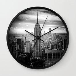 New york city black white 2 Wall Clock