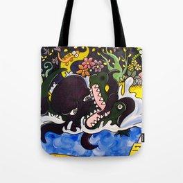 Greedy Octopus vs The Crocodile Tote Bag