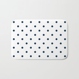 Navy Blue & White Polka Dots Bath Mat