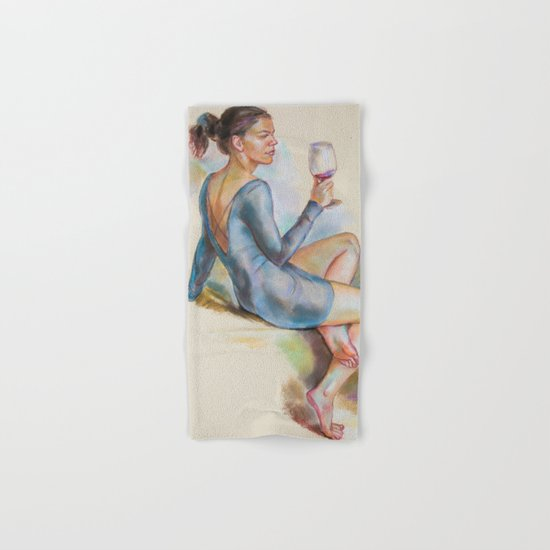 Girl with a glass of red wine Hand & Bath Towel