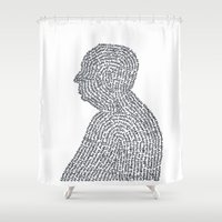 hitchcock Shower Curtains featuring Hitchcock by S. L. Fina