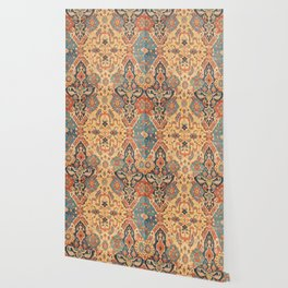 Geometric Leaves IX // 18th Century Distressed Red Blue Green Colorful Ornate Accent Rug Pattern Wallpaper
