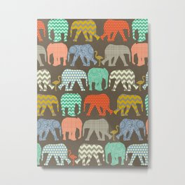 baby elephants and flamingos Savannah Metal Print
