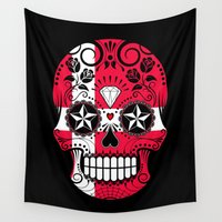 denmark Wall Tapestries featuring Sugar Skull with Roses and Flag of Denmark by Jeff Bartels