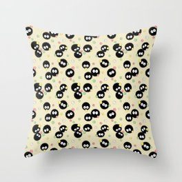 Soot Sprites with Konpeito Sugar Candy Throw Pillow