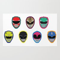 power rangers Area & Throw Rugs featuring Rangers by Ocelotdude Designs